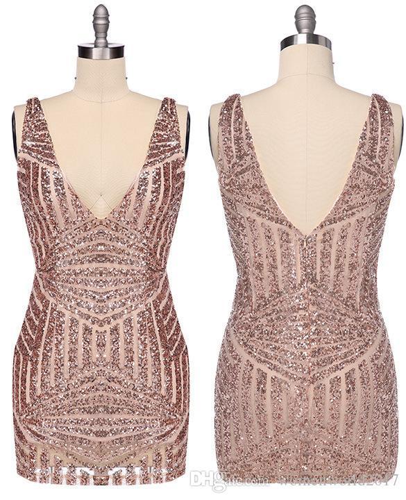 Mulheres oco cortado glitter dress prom senhoras party dress sexy profundo decote em v bodycon ouro lantejoula mergulho vestido
