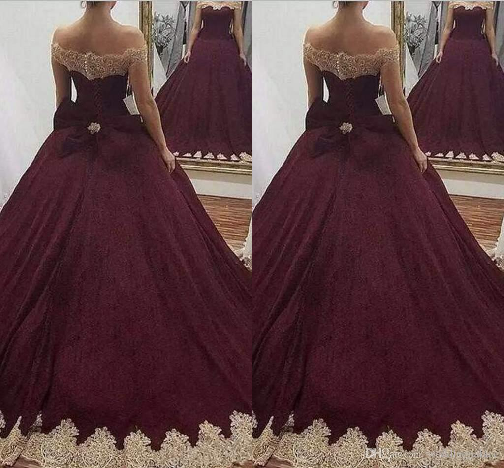 Most Beautiful Prom Dresses Ball Gown: 2018 Ball Gown Quinceanera Dresses Off Shoulder Gold