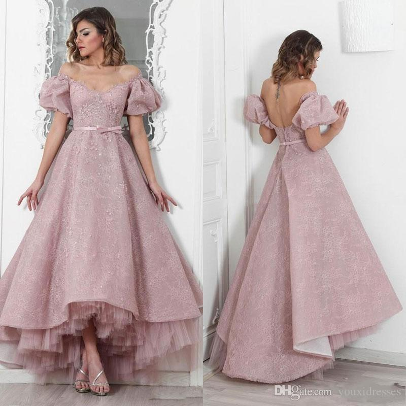 Sexy Sweetheart Dusty Rose Lace High Low Prom Dresses 2019 Fashion A Line  Evening Party Formal Pagent Dress Long Sequin Dress Plus Size Formal Wear  From ... ffd77dbc8