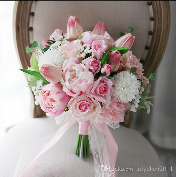 Artificial romantic wedding flowers pink roses peony tulip bridal artificial romantic wedding flowers pink roses peony tulip bridal silk flowers wedding bouquet for bride 2018 lace ribbon groom brooch 2018 images of mightylinksfo