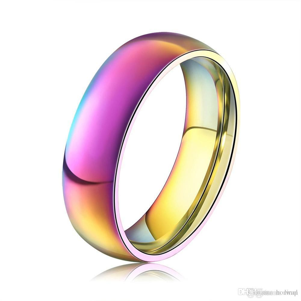 Classic Men Women Rainbow Colorful Ring Titanium Steel Wedding Band