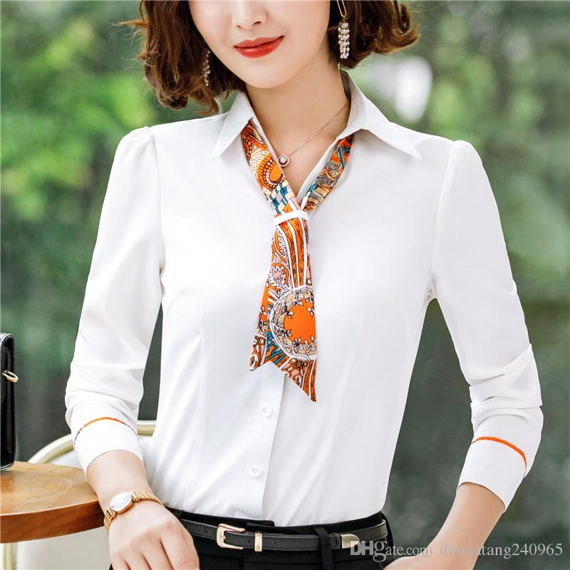 d3afe3ff9a16 2019 New Spring Autumn Blouse Women Long Sleeve Shirts Fashion Leisure  Chiffon Shirt Bow Office Ladies White Tops From Donnatang240965, $17.64 |  DHgate.Com