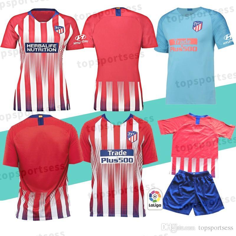 18 Madrid Atletico Soccer Jersey 7 GRIEZMANN 10 Correa 21 Lucas 19 Costa  Koke Godin Luis Gimenez 2019 Kids Kits Women Men Football Shirt 7 Griezmann  18 ... 50facb86f