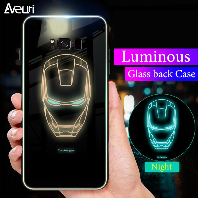 2019 Magic jobs Batman Spiderman Luminous Phone Case For Samsung Galaxy S8  S8 Plus Iron Man Panther Glass Cover For Samsung S9 S9 Plus Coque From  Magic jobs ... 1f94e51d316