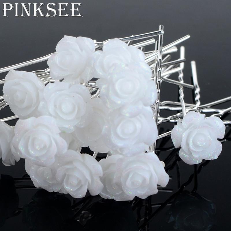 2019 Pinksee Wedding Hair Accessories White Flower Hair Pins Hair