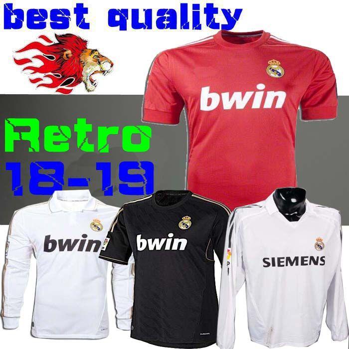 brand new 43f9b 317b3 Retro 2011 12 Real Madrid Home Soccer Football Jersey Sergio Ramos KAKA  HIGUAIN RONALDO ZIDANE Beckham 2005 06 RAUL Robinho Long sleeve