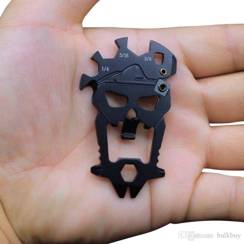في الهواء الطلق متعدد الوظائف جمجمة الجمع بين أداة متعددة الوظائف مفك فتاحة زجاجات مفتاح شحذ السكاكين بدائل سلاسل المفاتيح