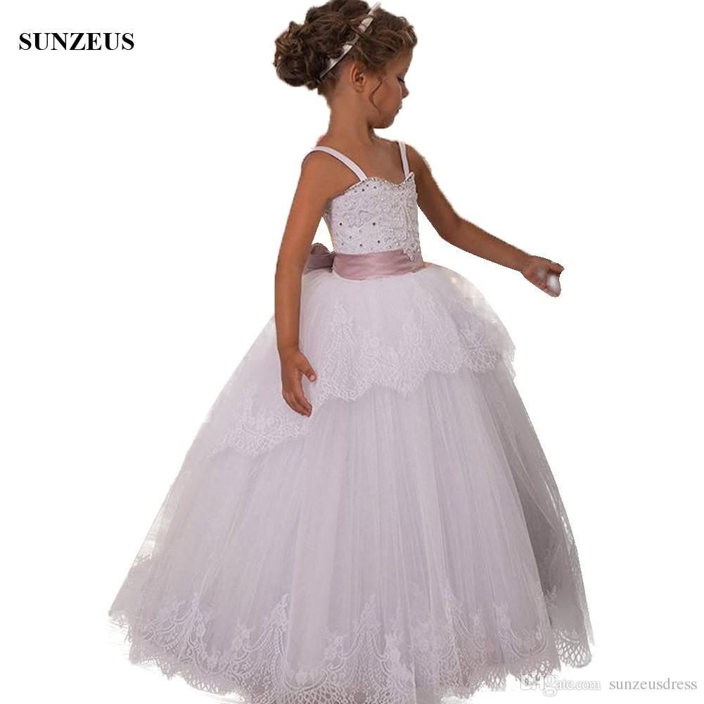 0d3c2584b9 Sweethart Spaghetti Straps Flower Girls Dresses With Appliques Beaded  Children Wedding Dresses Kids Communion Dresses Puffy Tulle Infant Formal  Dresses ...