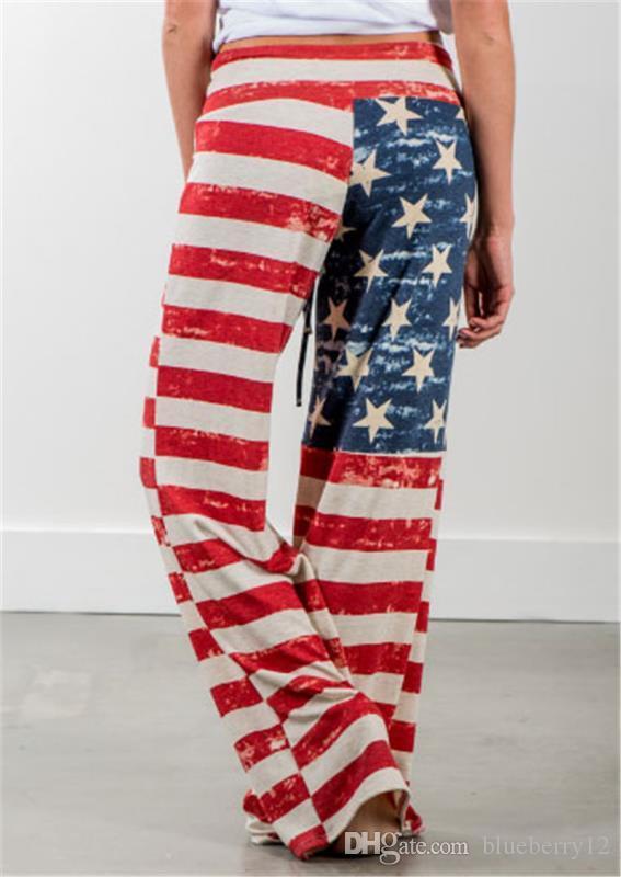 Горячие продажи Европа мода Flare брюки американский флаг печати случайные свободные гарем женщины легкий вес полиэфирные Капри Брюки S-XL размер