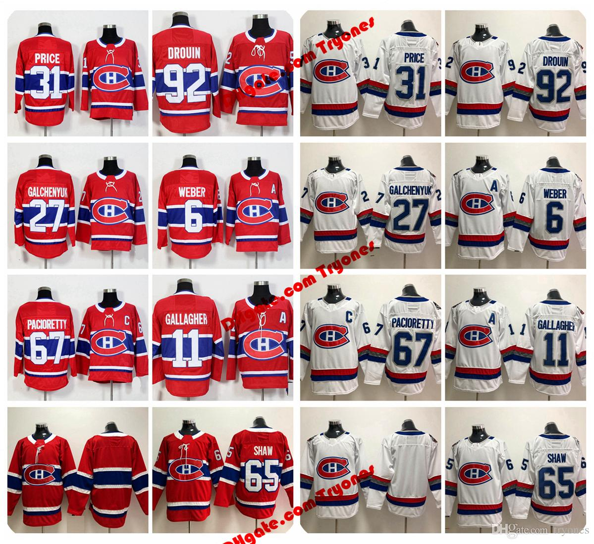 2018 Montreal Canadiens 31 Carey Price Shea Weber Jonathan Drouin Gallagher Alex Galchenyuk Max Pacioretty Andrew Shaw 100th Hockey Jerseys