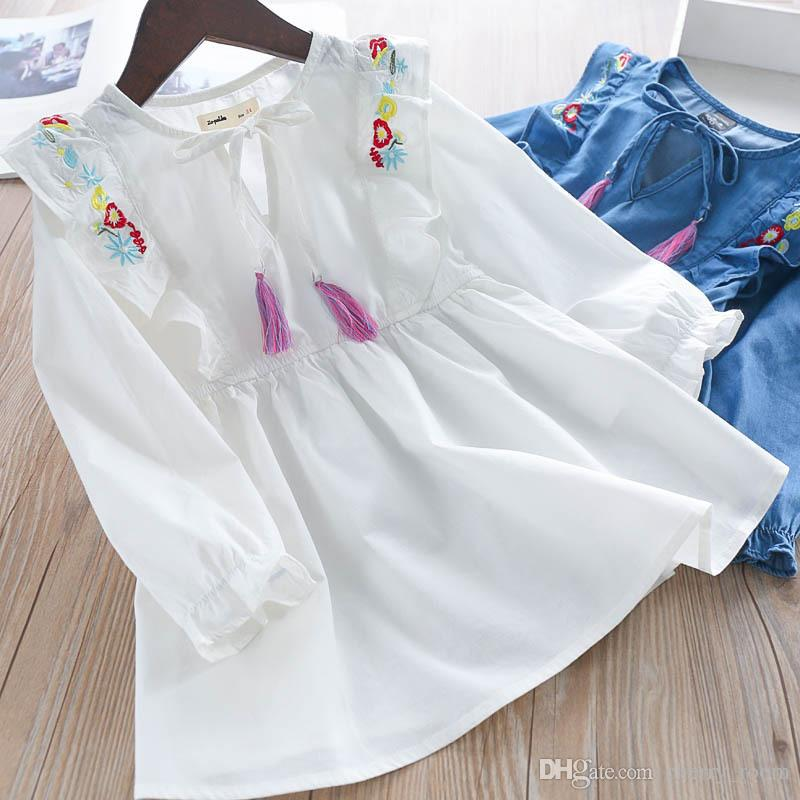 6243343b3 2019 2018 New Children Jean Long Sleeve Dress Girls Flower ...