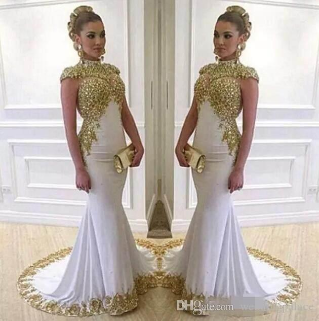 Newest Gold High Neck Dubai Prom Dresses Vestidos De Fiesta Aso Ebi Gold Lace Appliques Beaded Cap Sleeves Evening Party Evening Gowns