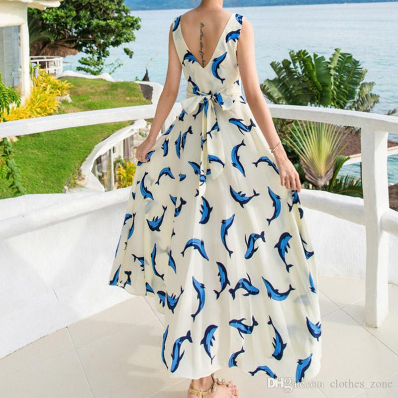 2018 Designer Brand Summer Long Dress Women  Dolphin Floral Print Beach  Vacation Chiffon Bohemian Beige Maxi Dress 9b399a1fb18e
