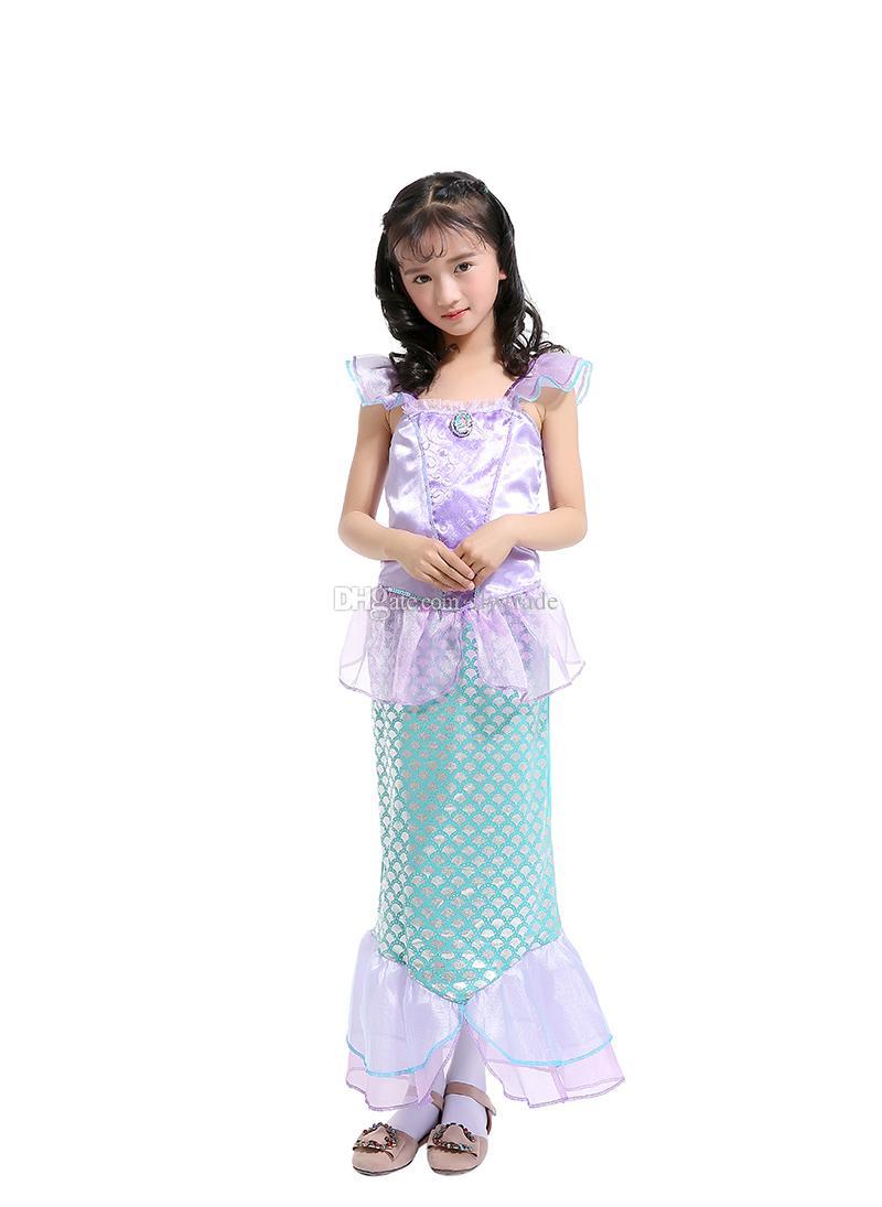Girls Mermaid Sequins Tail Princess Sleeveless Ball Gown Princess Dress Children's Day Mermaid Performance Dresses Masquerade Costume