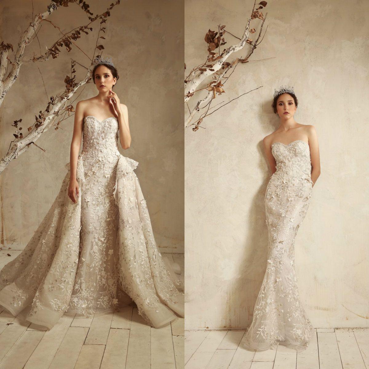 57cb0a1fd4 Tony Ward 2019 Mermaid Wedding Dresses With Detachable Train Sweetheart  Gorgeous Women Vestido De Novia Lace Appliques Beach Wedding Dresses Wedding  Lace ...