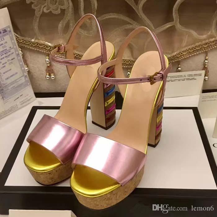 74e8cae9be3 New Arrival Fashion Summer Rainbow Chunky High Heel Lady Sandals With Top  Quality Luxury Brand High End Genuine Leather Women Party Shoes Sandals  High Heels ...