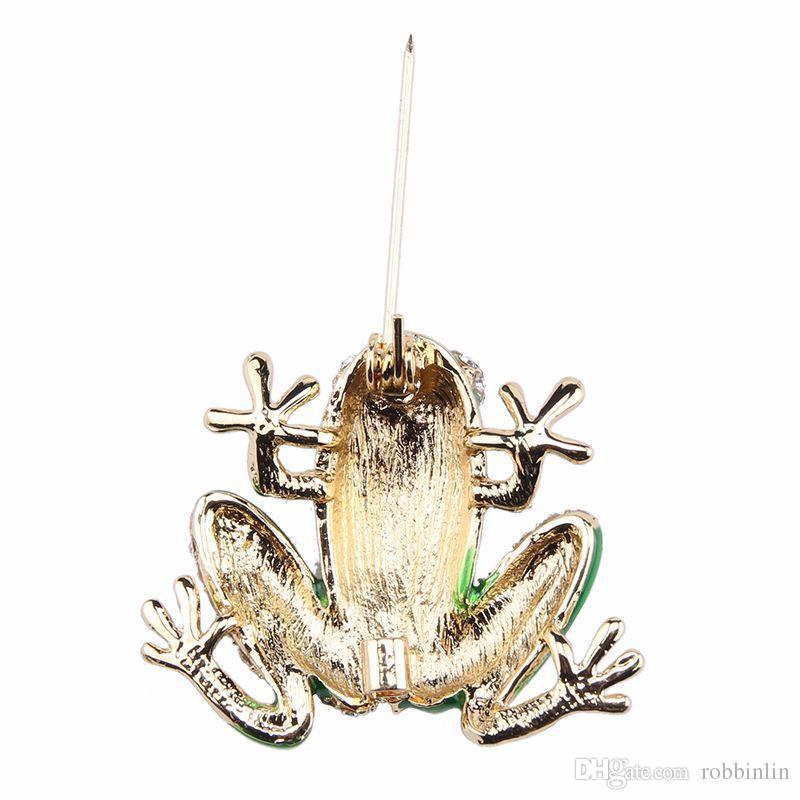 Sevimli Yeşil Kurbağa Broş Düğün Buket Aksesuarları Emaye Kristal Pimleri Broş Moda Takı Kadınlar Kızlar için
