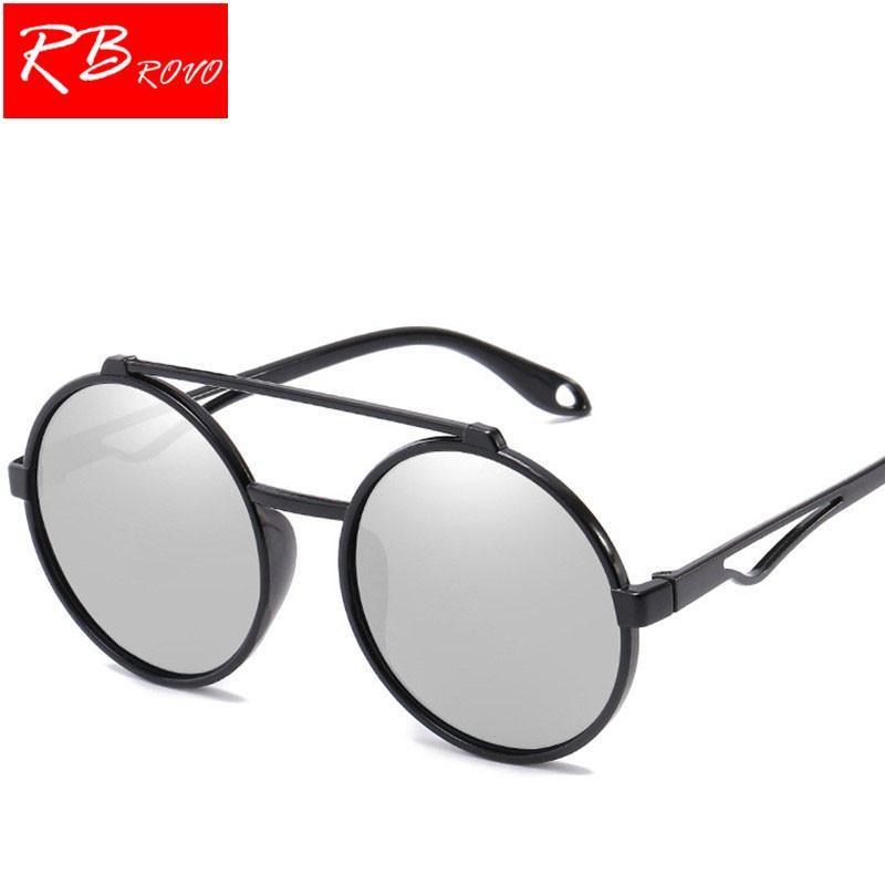 ead9cf0b67 Compre RBROVO 2018 Gafas De Sol Redondas De Moda Para Mujer Steampunk  Rainbow Gafas De Sol De Espejo Clásico Retro Gafas De Plástico Gafas A  $26.5 Del ...