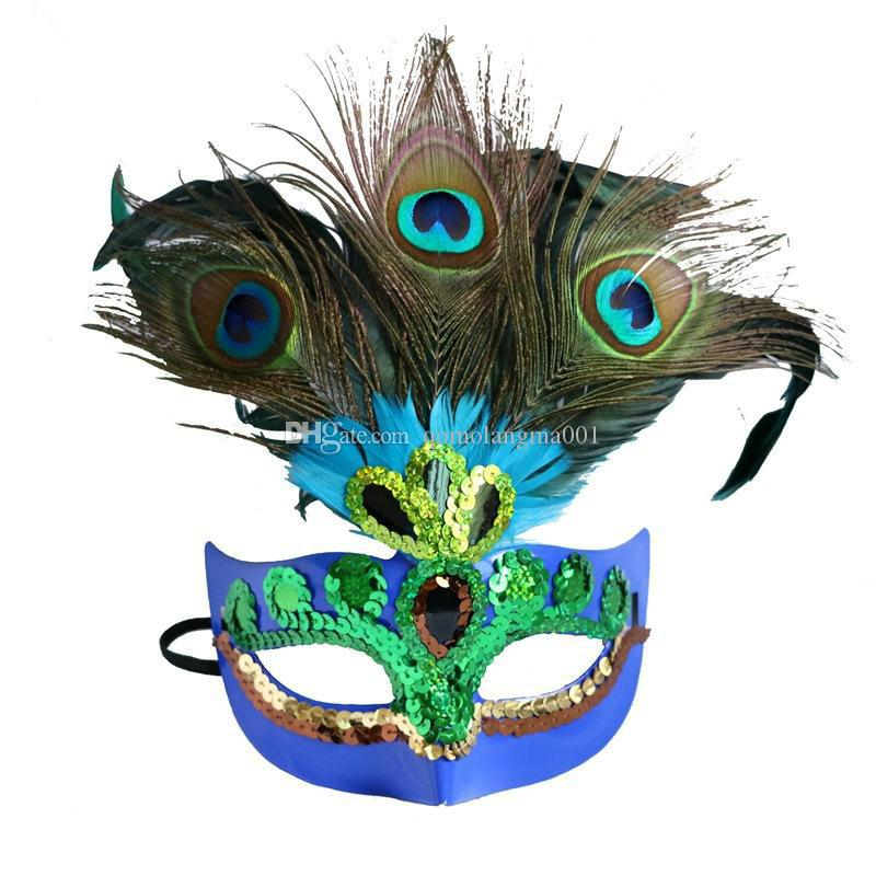 Peacock Feather Mask For Women Peacock Masquerade Mask Venetian Faux Diamond Dancing Party Masks halloween Peacock half face masks