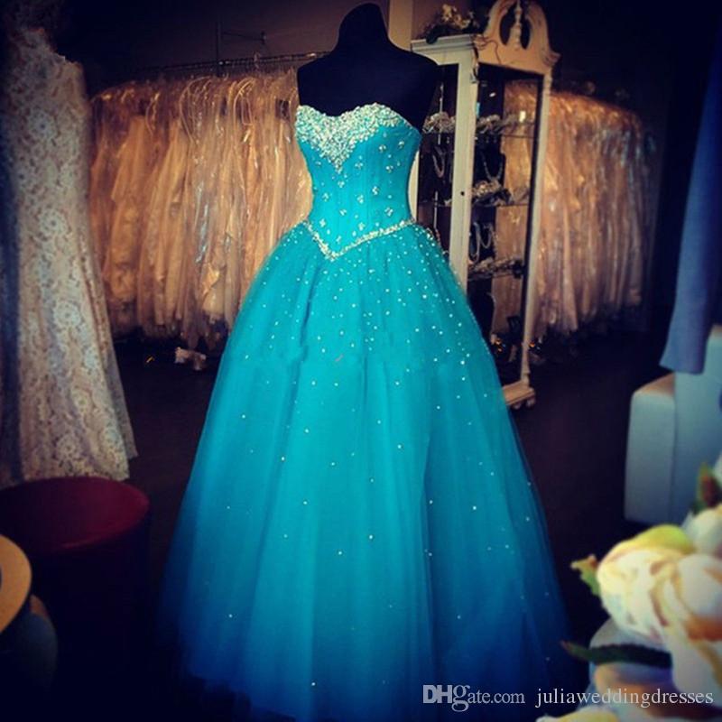 2017 Sexy Kristall Blau Ballkleid Quinceanera Kleid mit Perlen Pailletten Tüll Lace Up Plus Größe Süße 16 Kleid Vestido Debütantin Kleider BQ107