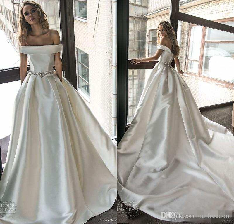 c8ed6da7ac 2019 Simple Elegant A Line Satin Wedding Dresses with Pockets Beaded Waist  Off the Shoulder Vestidos De Noiva Bridal Gowns