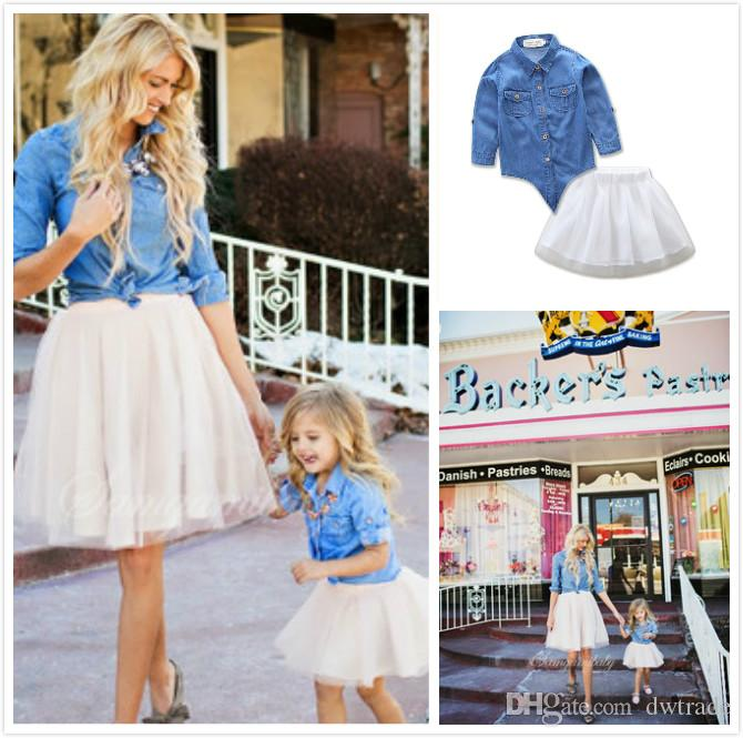 05b3a9fb3 INS Hot Family Matching Outfits Fashion Style Mother and Daughter Suits Denim  Jacket + White Yarn Tutu Skirt 2 Pces Sets Suits