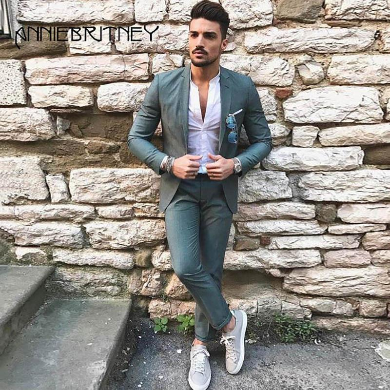 7d2bcbb468b 2019 2018 Latest Designers Green Men Suits For Wedding Slim Fit Male Blazer  Jacket Handsome Groom Tuxedos Men Suits Prom Wear From Junqingy