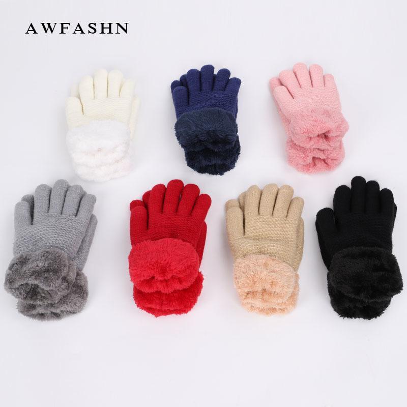 c754df114a60af Großhandel Neue Einfarbig Gestrickte Handschuhe Herbst Winter Männer Frauen  Handschuhe Frauen Lange Handschuhe Plus Samt Verdickung Vintage Warm Red ...