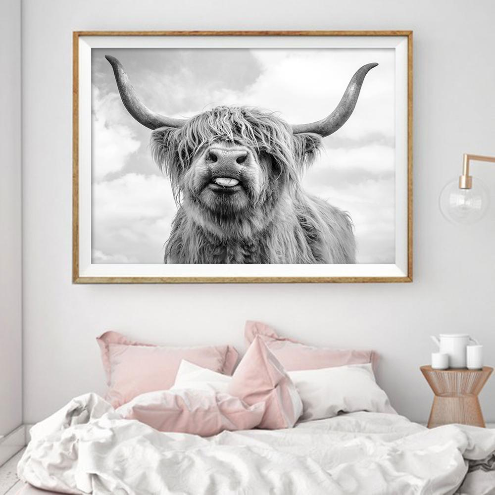 f6e9b9eee32 2019 Nordic Decoration Highland Cow Cattle Wall Art Canvas Poster And Print  Animal Canvas Painting Picture For Living Room Home Decor From Doost
