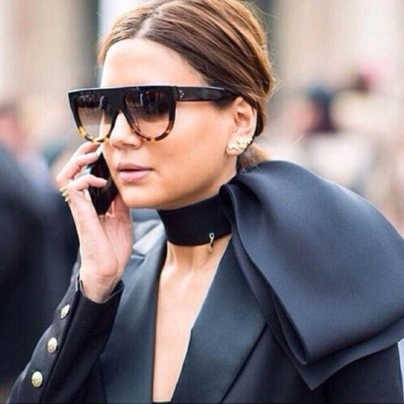 09d0197ff9 Compre Gafas De Sol WINLA Moda Mujeres Flat Top Oversize Escudo ...