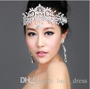 Flexional Crystals Wedding Bridal Crystal Rhinestone Pearl Beaded Hair Accessories Headband Band Crown Tiara Ribbon Headpiece Jewelry