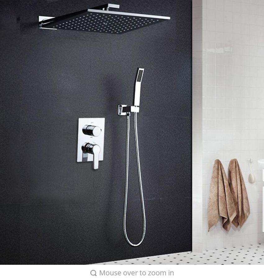 2019 10 Rainfall Shower Head System Polished Chrome Bath U0026 Shower Faucet  Bathroom Luxury Rain Mixer Shower Combo Set Wall Mounted From  Jiemei_shower, ...
