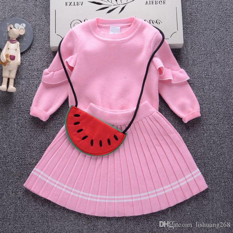 e1b8d45c6 2018 Autumn Winter New Girls Sweater Dress Kids Baby Sweater Jumper ...