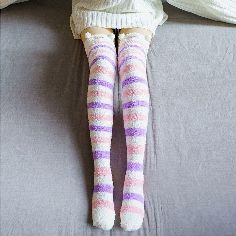 2d306453c53ad Japanese Cartoon Girl Animal Knee Socks Striped Cute Lovely Kawaii Cozy  Long Thigh High Socks Compression Winter Warm Socks S1017 Frilly Socks Plus  Size ...