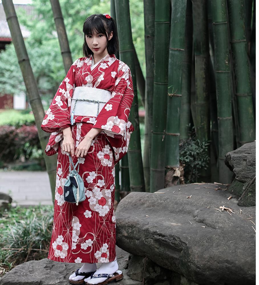 30d141e3f4a3 Acheter Kimono Floral Traditionnel Japonais Avec Ceinture Femme Yukata En  Coton Robe Japon Sexy Danse Performances Cosplay Costume A60514 De  74.33  Du ...