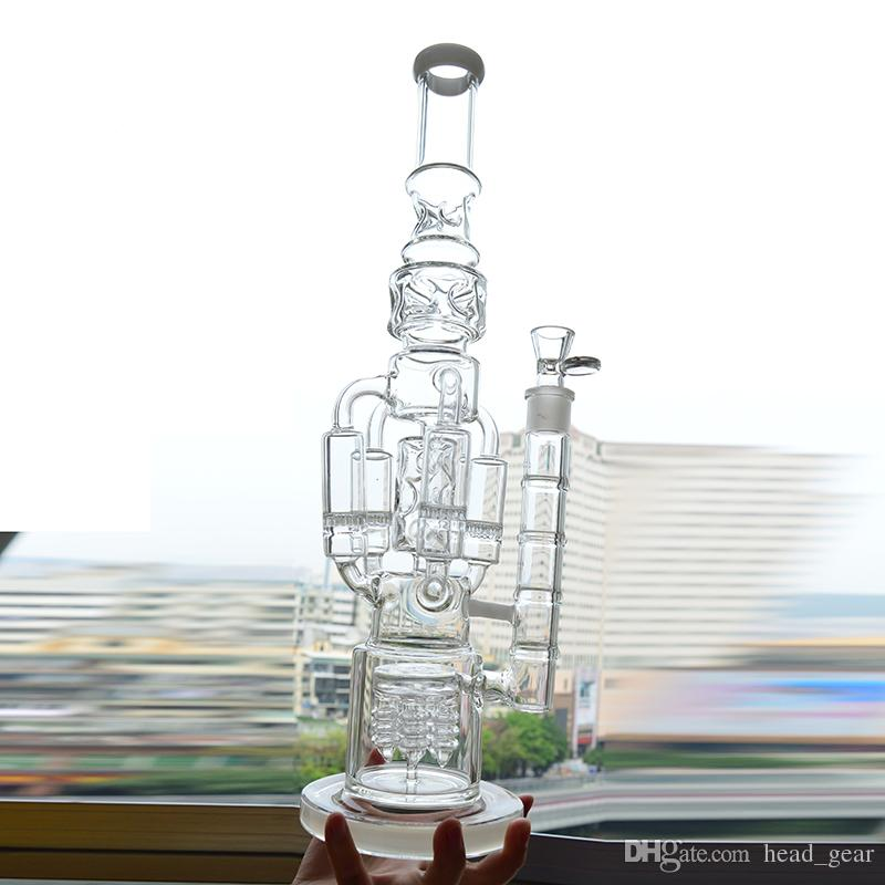 Big Glass Bong 6mm Thick Recycler Wayer Pipe Dab Rig Rocket Honeycomb Perc Bubbler Plataformas petroleras 18