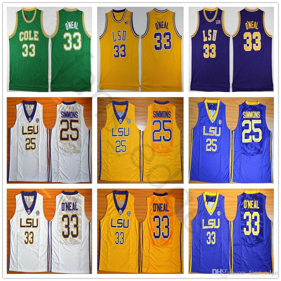 6377901fc9e NCAA LSU Tigers College  25 Ben Simmons Jersey 33 Shaquille O Neal  University Stitched Basketball Jerseys Cole High School Green Shaq ONeal
