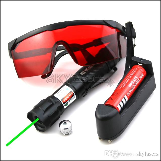 GS9 532nm Fixed focus Green laser pointer pen with Batteries & Charger & Goggles