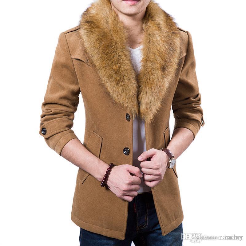 5212f2a5fa8d0 2019 Wholesale New Mens Pea Coat 2015 Fashion Design Fur Collar Mens Slim  Fit Wool Blend Trench Coat Jacket Brand Stylish Overcoat Peacoat XxxL From  Namany