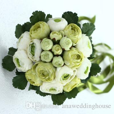 4 Renk Mevcut Güzel Pembe Yeşil Beyaz Sarı Düğün Buket Yapay Çiçek Kurdela ile Gelin Buketleri Buket Gelin