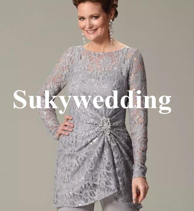 Gray Lace Mother of the Bride Suits Long Sleeves Plus Size Women Formal Evening Dresses Sequined Crystals Wedding Guest Dress Custom Made