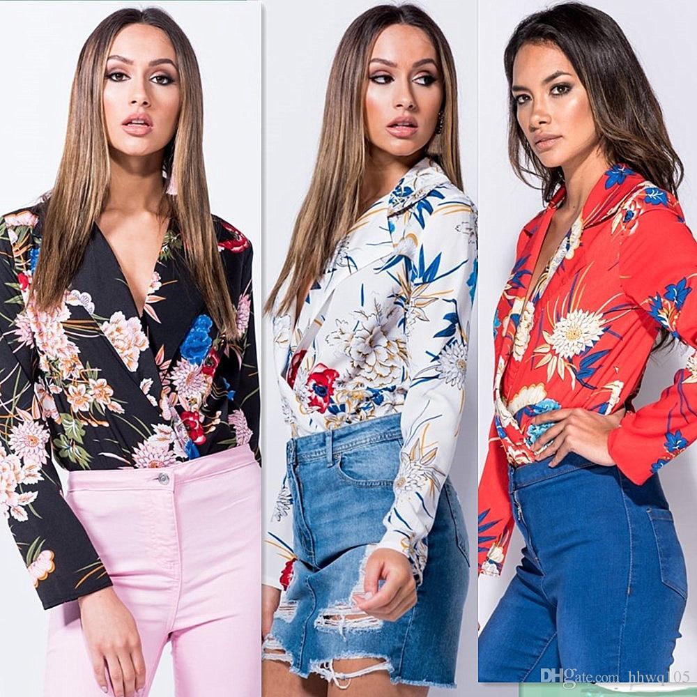 8e64068ee4e Fashion Long Sleeve Women Blouses Floral Printed V-Neck Casual Shirt ...