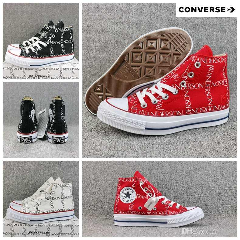 2018 New JW Anderson X Converse Chuck 70 Black White Red High Top Canvas  Women Men Designer Casual Running Sneakers 36 44 Shoes For Sale Cheap Shoes  Online ... 348a868c23