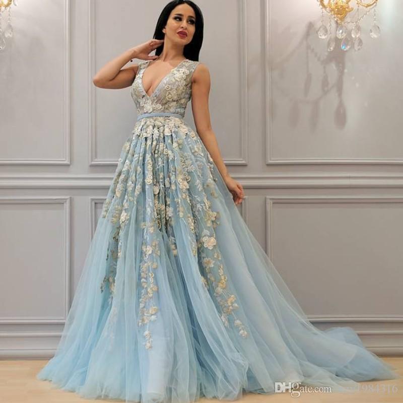 Großhandel Glamorous Fluffy A Linie Abendkleid Sexy Tiefem V ...