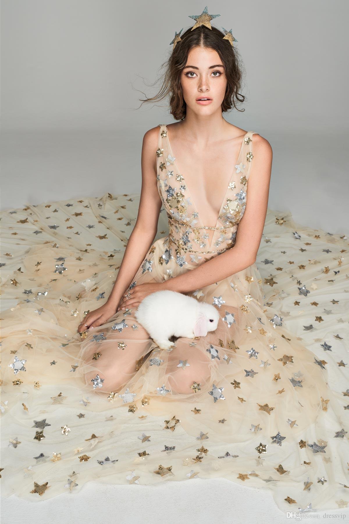 2018 robes de bal de fée Bling étoiles profond v cou balayage train sans manches robe de soirée tenue de soirée robes de soirée