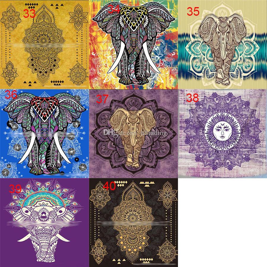 150 * 130 cm Tapices 2018 verano mandala bohemio manta de playa manta de yoga personalizada follaje de elefante mantón de baño toalla es C4281