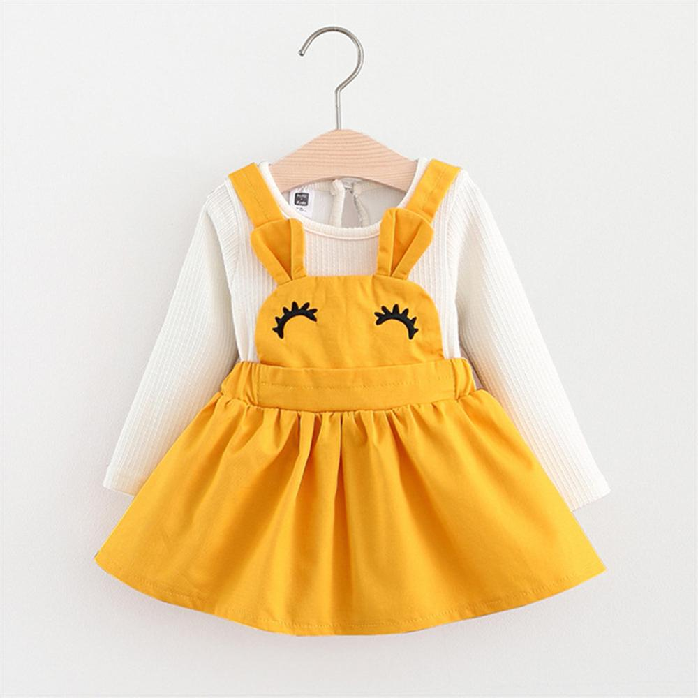 7275ed617 2019 Baby Girl Dress Princess Autumn Solid Dress Wedding Kids Party ...