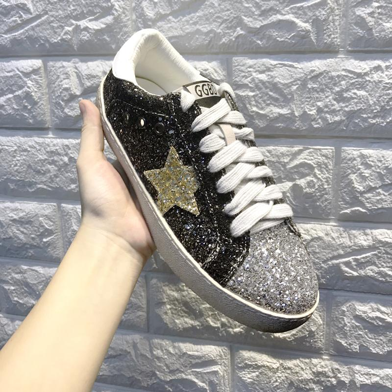2019 Casual YtracyGold Glitter Star Women Flats Leather Casual Shoes For Women  Sneakers Fashion Tenis Feminino Silver Ladies Vulcanize Shoes Mens Shoes ... ea95fd95a164