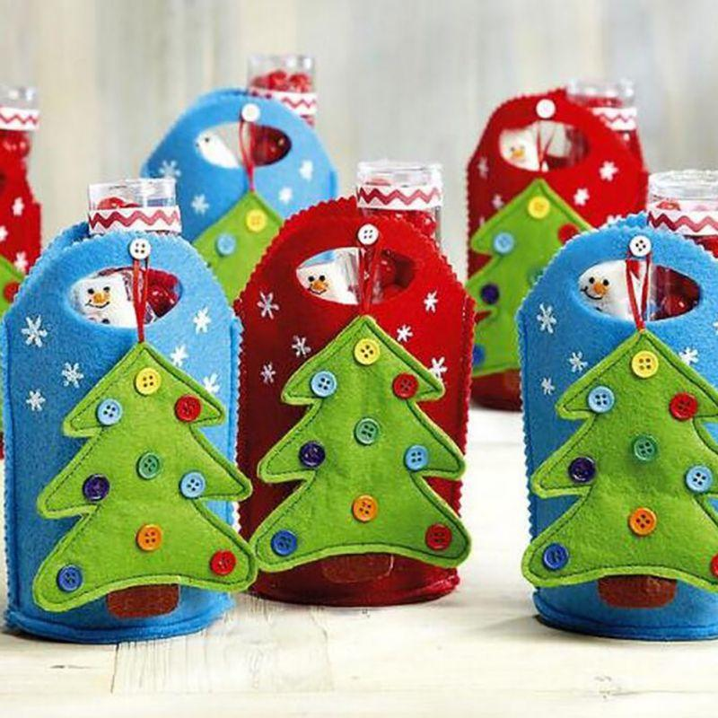 christmas gift bag for candy christmas gift bags ornament decoration bags for tree owl santa clause stockings snowman pattern shop christmas decorations - Candy Christmas Ornaments