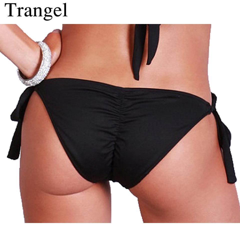 29b896ad7f Trangel Bikinis Women 2018 Black Cheeky Bikini Bottom Brazilian Swimwear  Thong Adjustable Side Ties Briefs Summer Swim Shorts Canada 2019 From  Cantury